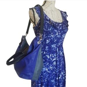 Sam Edelman Blue/Gray Leather Shoulder Bag Tote